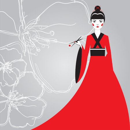 susi: Beautiful Japanese woman in a red kimono holding sushi with chopsticks on a background linear cherry blossoms. The advertising character. The concept for the menu sushi bar. Illustration
