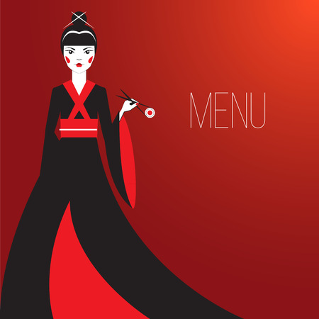 femme: Oriantal femme fatale in a long black kimono with a traditional Japanese makeup eating sushi. Cover Elegant restaurant menu.