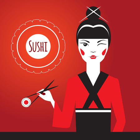 exotic woman: Japanese girl winks and holding sushi with Chopsticks. Traditional food. Vinegared rice, ingredients. Advertising character. Modern style flat design. Stylized logo in the form of roll on background.
