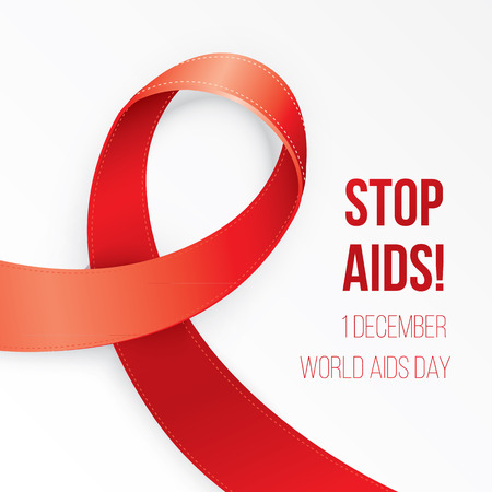 Aids Awareness Red heart Ribbon on white background. Corner composition for postcard poster or web banner