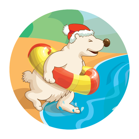 scarf beach: Little cute white bear wearing santa hat is running into the sea with rubber ring. Concept for travel agency. New year and christmas hot tours.
