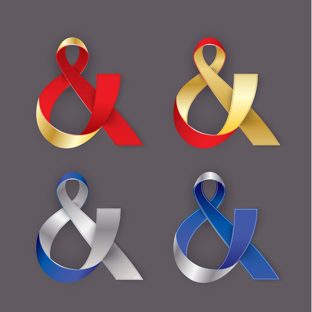 plating: Photorealistic ribbon in the shape of Ampersand, the AND Symbol. Vector elements for card, invitation or web banner design