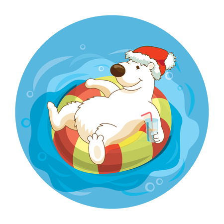 children swimming: Little cute white bear wearing santa hat is sweaming with flouting ring and drinking cocktails. Celebrate the New Year and Christmas at the resort. Concept for travel agency. Illustration