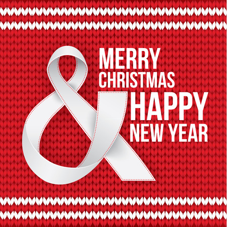 ruban blanc: Merry Christmas and Happy New Year card. Photorealistic white ribbon in the shape of Ampersand, the AND Symbol on red knitted background. Vector.