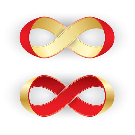 カード、招待状、または web のバナー デザインの形状無限、無限大記号で写実的な赤と金のリボンします。