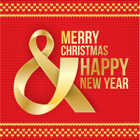Merry Christmas and Happy New Year card. Photorealistic white ribbon in the shape of Ampersand, the AND Symbol on red knitted background. Vector