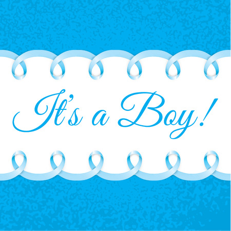 girls feet: Baby boy shower card with Photorealistic blue ribbon frame for your text. Vector design. Illustration