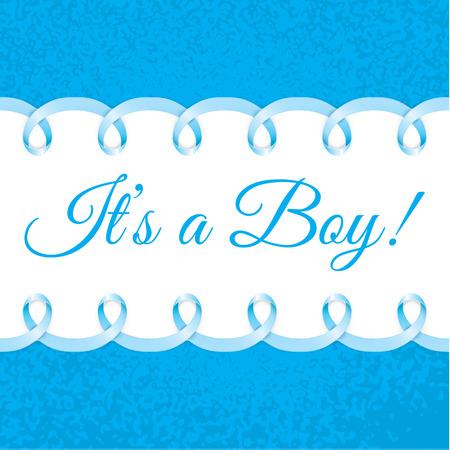 pie bebe: Tarjeta de la ducha del bebé con el marco de la cinta azul fotorrealista para el texto. Diseño del vector.