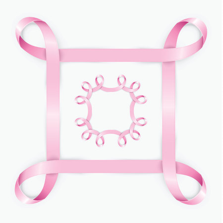 Realictic pink ribbon frame. Can be used for web banner, card or invitation. Wedding vector design