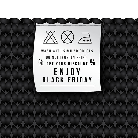 new rules: New original concept for an advertising campaign. Sales of clothing into a black Friday. Label with the rules of care jerseys. Get your discount and enjoy. Seamless knitted background.