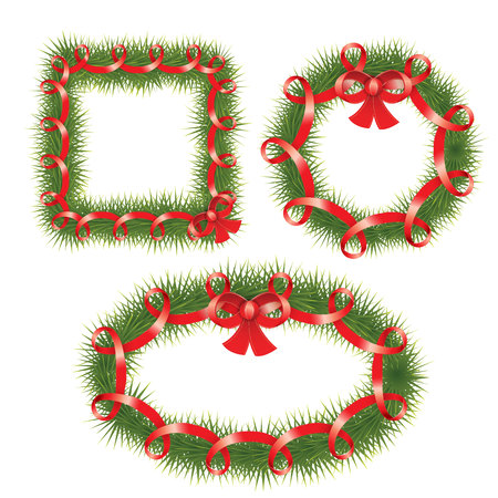 ellements: Cute set of realistic Vector Christmas Wreath with red ribbon. Fir tree branches in the shape of Square, round and ellipse. Vector design ellements. Illustration