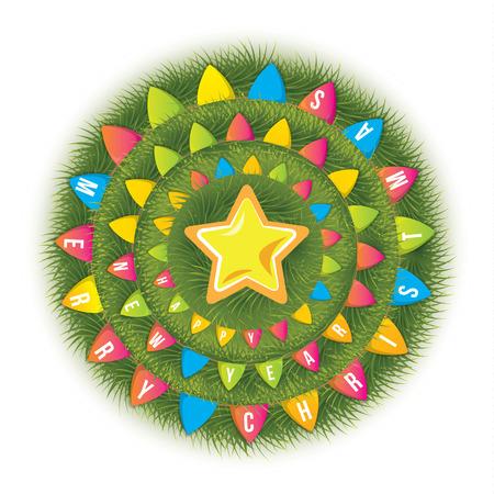 arbre vue dessus: Arbre de Noël décoré avec des drapeaux. L'étoile au sommet. Vue d'en haut. La composition circulaire. Le nouveau concept original pour emballage cadeau, boîtes, bannière web ou une carte postale. Vector design.