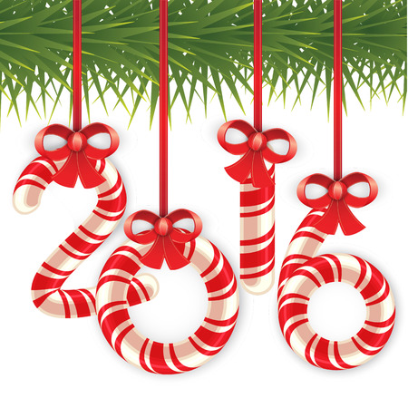 green bow: Candy cane in the form of numbers. 2016 hang on the Christmas tree on the gold and red ribbon with a bow. Decorative vector frame.