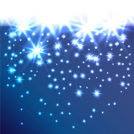 fall down: Glow snowflakes or stars fall down. Decorative background for holiday invitations, cards or web banner. A smooth transition from white. It can be used as a border. Modern vector concept. Let it snow.
