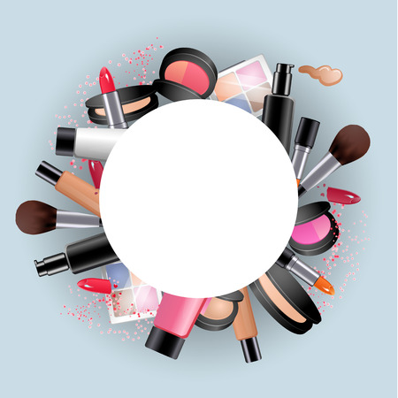 shadow face: Cosmetics. Round decorative frame with make up stuff. lipstick, mascara, eye shadow, face powder. Vector concept.