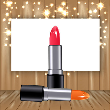 timbered: 3d lipstick on Wooden background with fir and glowing stars as curtain. Vector illustration. Concept for sale of cosmetics.
