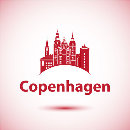 Copenhagen Denmark. Nordic capital. City skyline silhouette. Vector illustration. Icon for travel agency. City hall, Rosenborg Castle, round tower.