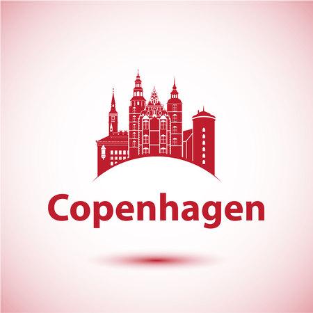 Kopenhagen Denemarken. Nordic Capital. City skyline silhouet. Vector illustratie. Pictogram voor reisbureau. Stadhuis, Rosenborg Castle, ronde toren.