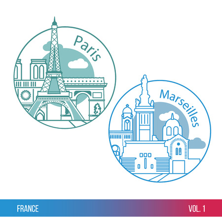 Set of web icons or Logo for tourism or political company. Biggest cities of France. Paris and Marseille. One line trendy style. Modern flat design. Round composition. Illustration