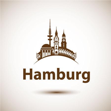 ハンブルク ドイツ.都市のスカイラインのシルエット。ベクトルの図。旅行代理店のアイコン。