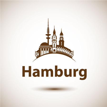 Hamburg Germany. City skyline silhouette. Vector illustration. Icon for travel agency. 일러스트