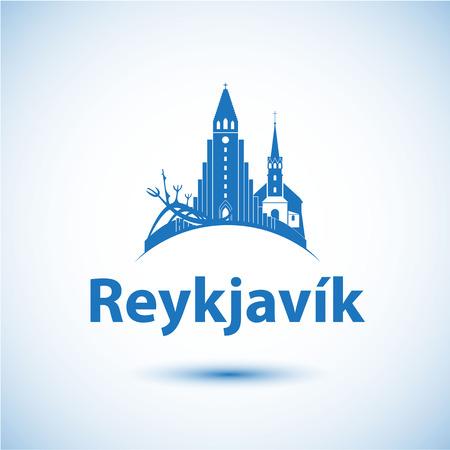 アイスランド レイキャビク。北欧の首都。都市のスカイラインのシルエット。ベクトルの図。旅行代理店のアイコン。