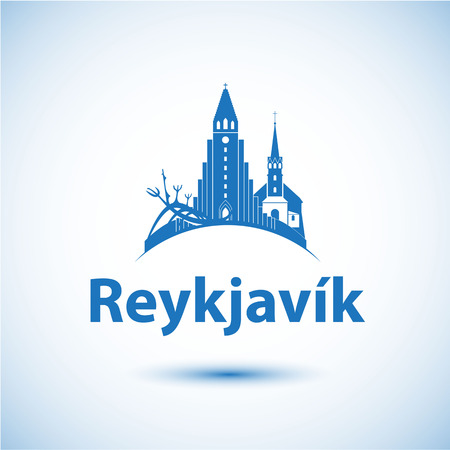 Reykjavik Iceland. Nordic capital. City skyline silhouette. Vector illustration. Icon for travel agency.