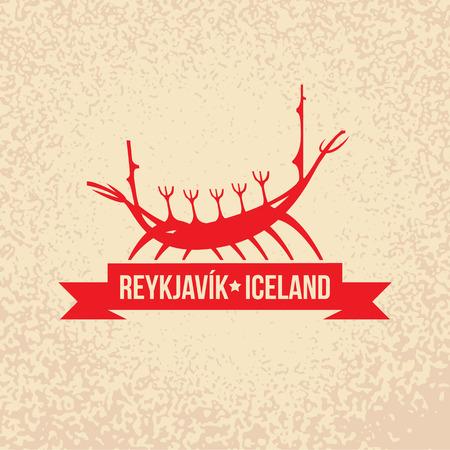 tourism logo: Viking boat. The symbol of  Reykjavik, Iceland. Vector silhouette. Icon for travel agency. Illustration