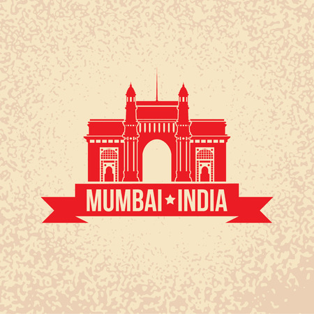 india culture: India Gate. The symbol of  Mumbai, India. Vector silhouette. Icon for travel agency.