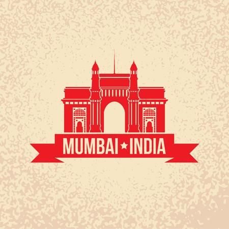 Porte de l'Inde. Le symbole de Mumbai, en Inde. Vector silhouette. Icône agence de Voyage.