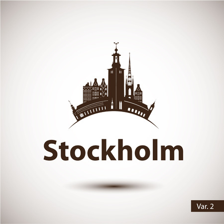 スウェーデンのストックホルム。北欧の首都。都市のスカイラインのシルエット。ベクトルの図。旅行代理店のアイコン。  イラスト・ベクター素材