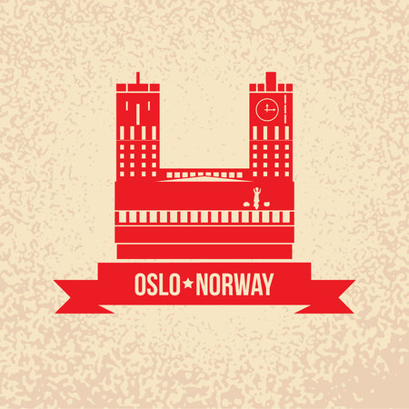 town hall: Town hall The symbol of Oslo, Norway. Vector silhouette. Icon for travel agency.
