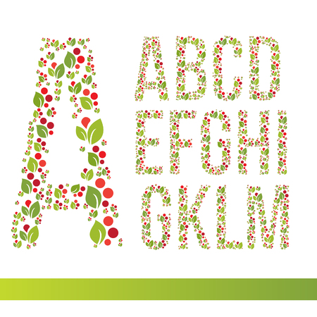 racy: Elegant floral font created from decorative leaves in a flat style. It can be used for web banners or cards. Decorative painting in the Russian style Khokhloma. Illustration