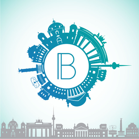 be the identity: Vector silhouette of Berlin, Germany. The circular logo in a contemporary style.It can be used for web design application or corporate identity.