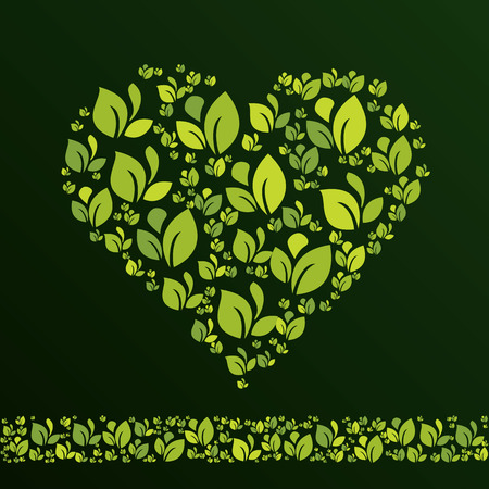 Heart created from leaves in ecological style.. Vector design template element for your ecology application or corporate identity. Can be used as greeting card for Valentines day. Illusztráció