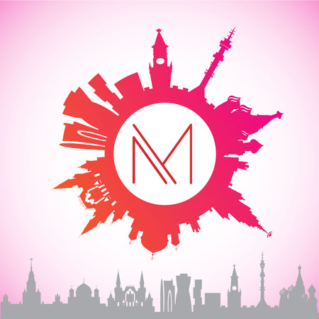 be the identity: Vector silhouette of Moscow. The circular logo in a contemporary style.It can be used for web design application or corporate identity. Illustration