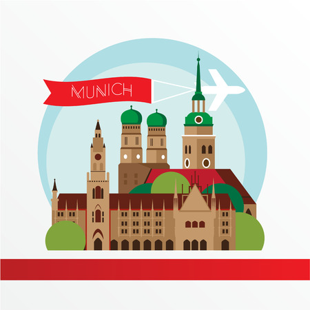 Munich skyline, detailed silhouette. Trendy vector illustration, flat style. Stylish colorful Munich landmarks.