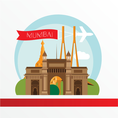 bombay: Mumbai, detailed silhouette. Trendy vector illustration, flat style.