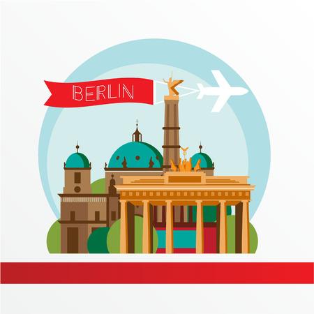 Berlijn, gedetailleerde silhouet. Trendy vector illustratie, vlakke stijl. Stijlvol kleurrijke bezienswaardigheden. Het concept voor een web banner. Brandenburger Tor - Het symbool van Duitsland, Berlijn.