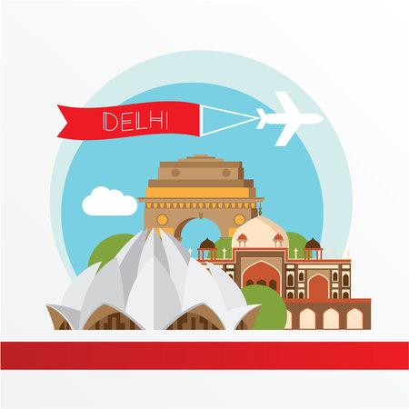 ロータス寺院 - インド、デリーのシンボル。  イラスト・ベクター素材