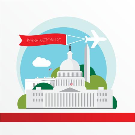 アメリカ合衆国首都 - 米国のシンボル  イラスト・ベクター素材