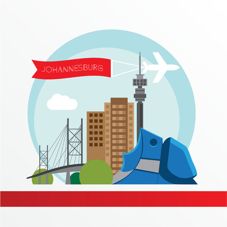 Johannesburg skyline, detailed silhouette. Trendy vector illustration, flat style.  The concept for a travel web banner Illustration