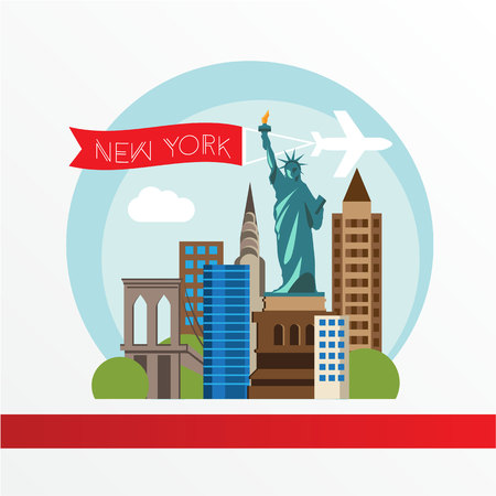 sky scraper: New York, detailed silhouette. Trendy vector illustration, flat style. Stylish colorful  landmarks. The concept for a web banner. Statue of Liberty - The symbol of USA.