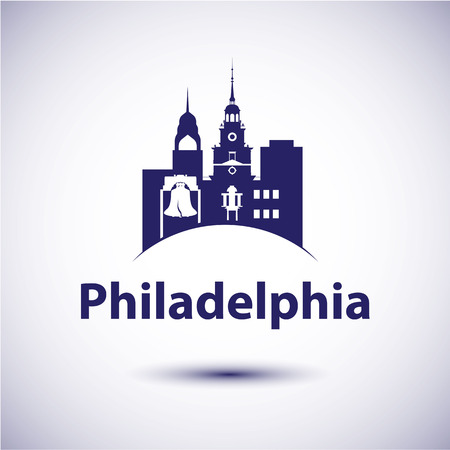 pennsylvania: Philadelphia Pennsylvania city skyline silhouette. Vector illustration Illustration