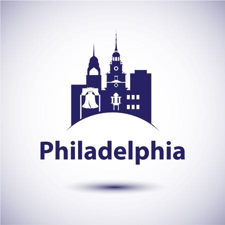 philadelphia: Philadelphia Pennsylvania city skyline silhouette. Vector illustration Illustration