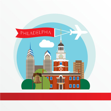sky scraper: Philadelphia, detailed silhouette. Trendy vector illustration, flat style. Stylish colorful  landmarks. The concept for a web banner.  Liberty Bell  is an iconic symbol of American independence.
