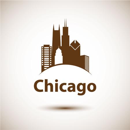 シカゴ米国スカイライン シルエット、黒と白のデザインで
