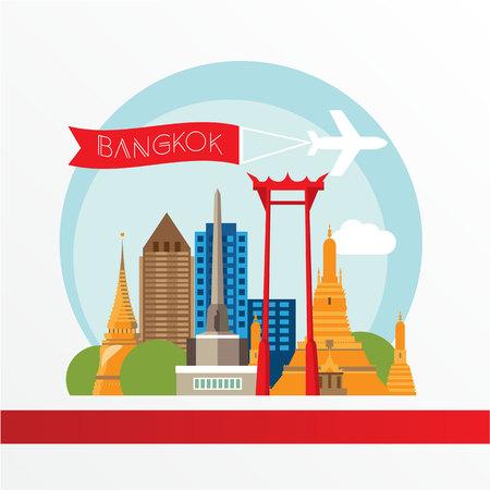 Bangkok silueta detallada. Ilustración de moda, estilo plano. puntos de referencia de colores elegantes. El concepto de una bandera de la tela. Wat Arun y el Swing - El símbolo de Bangkok, Tailandia. Foto de archivo - 53503963