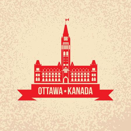 センター ブロック、平和の塔 - 政府の建物の議会の丘、オタワ、小鹿田焼、カナダのオタワ、カナダ シルエットのシンボル。  イラスト・ベクター素材