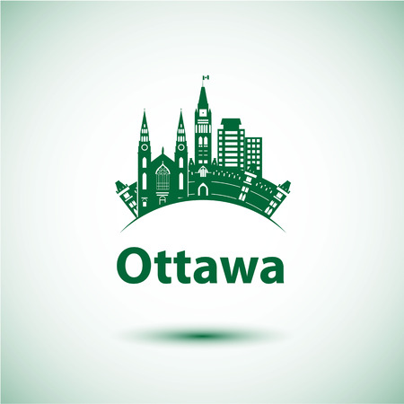 ontario: City skyline with landmarks Ottawa Ontario Canada.
